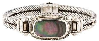 David Yurman Mother of Pearl & Diamond Double Cable Bracelet
