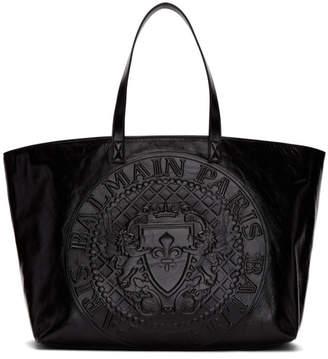 Balmain Black Medallion Shopper Tote