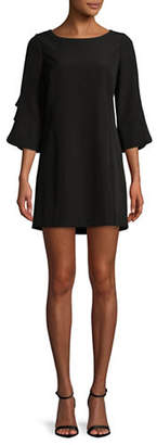 Laundry by Shelli Segal Crepe Faux Pearl Embellished Shift Dress