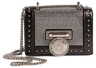 Balmain Baby Box Crystal Embellished Leather Shoulder Bag