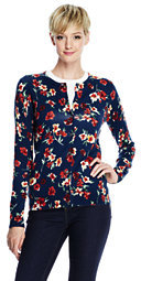 Lands' End Women's Tall Classic Supima Print Cardigan Sweater-Ivory/Black Floral $89 thestylecure.com