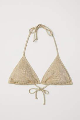 H&M Glittery Triangle Bikini Top - Beige