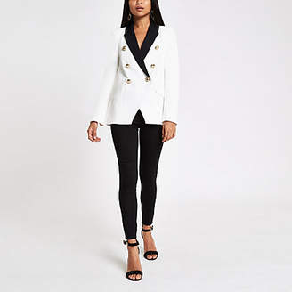 River Island Petite white double breasted tux jacket