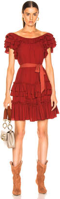 Marissa Webb Elio Crepe Mini Dress in Spiced Red | FWRD