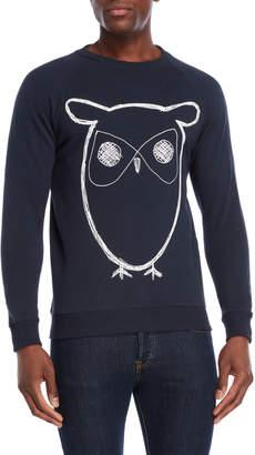 Knowledge Cotton Apparel Crew Neck Owl Print Sweatshirt