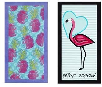 Betsey Johnson Pineapple/Flamingo Set of 2 Beach Towels