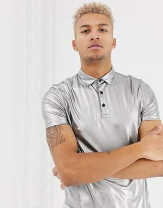 Asos Design DESIGN polo shirt in drapey metallic in silver