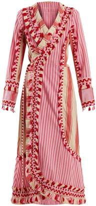 DODO BAR OR Miranda embroidered striped cotton wrap dress