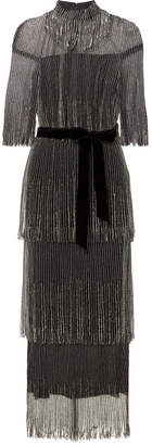 Monique Lhuillier Tiered Fringed Bead-embellished Tulle Midi Dress - Black