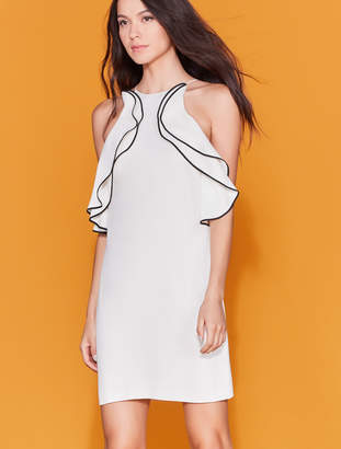 Halston High Neck Ruffle Dress
