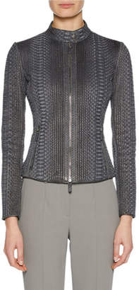 Giorgio Armani Python Snakeskin Zip-Front Fitted Jacket