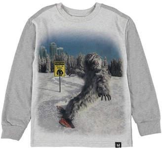 Molo Boy's Risci Snowboarding Yeti Print Tee, Size 4-12