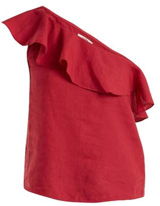 Etoile Isabel Marant Thom One Shoulder Linen Top - Womens - Dark Pink