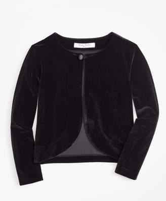 Brooks Brothers Girls Knit Velvet Bolero Jacket