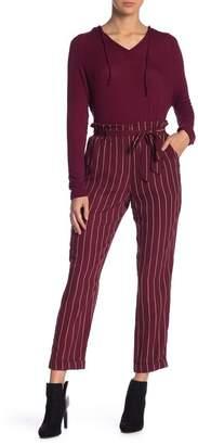 Blu Pepper Striped High Waist Paperbag Pants