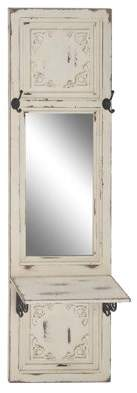BEIGE DecMode Decmode Traditional Wood And Metal Rectangular Wall Mirror With Hooks And Shelf,