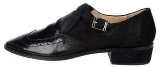 Jimmy Choo Distressed Leather Square-Toe Loafers