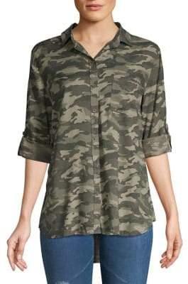 Beach Lunch Lounge Camo-Print Button-Down Shirt
