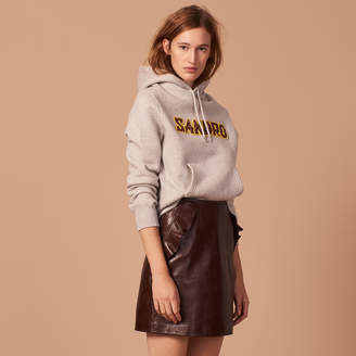 Sandro Leather skirt with ruffles on the pocket