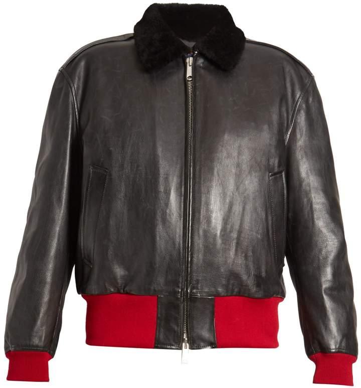 CALVIN KLEIN 205W39NYC Bi-colour leather bomber jacket