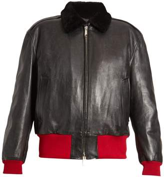 Calvin Klein Bi-colour leather bomber jacket