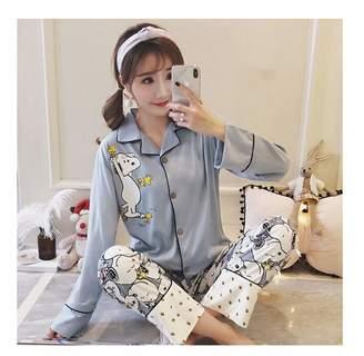 French Bull Nhequren New 2018 Pajama Sets Women Cute Corgi Print Pieces Set Long Sleeve Elastic Waist Cotton Lounge Pijamas S78801 XXL