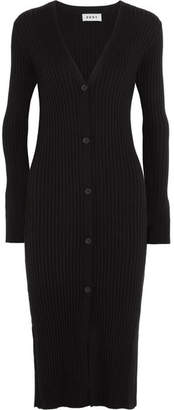 DKNY - Ribbed Silk, Wool And Cashmere-blend Cardigan - Black $275 thestylecure.com
