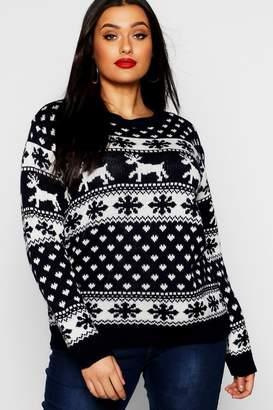 boohoo Plus Snowflake Christmas Jumper