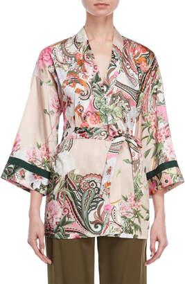 Blugirl Floral Belted Kimono Blouse