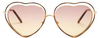 Chloé Poppy Heart Shaped Frame Sunglasses - Womens - Purple Multi