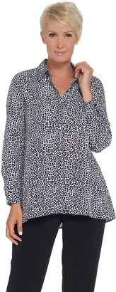 Joan Rivers Classics Collection Joan Rivers Silky Animal Print Button Front Blouse