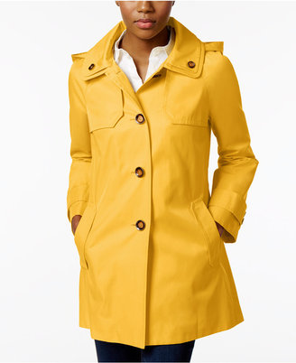 London Fog Hooded A-Line Double-Collar Raincoat $150 thestylecure.com