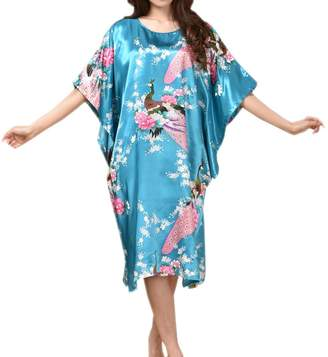 SexyTown Women's Batwing Sleeve Pullover Nightgown Satin Plus Size Pajamas