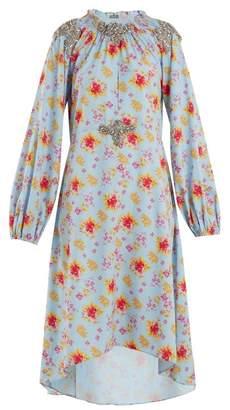 Dodo Bar Or - Marisa Floral Print Crystal Embellished Dress - Womens - Blue Print
