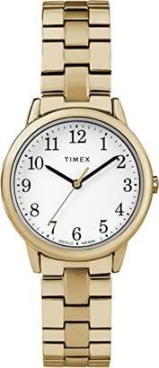 Timex Ladies Easy Reader White Dial on Gold Tone Stainless Steel Bracelet TW2R58900