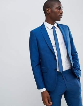 Moss Bros Skinny Suit Jacket In Blue