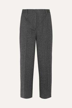 Prada Cropped Wool-blend Mouline Straight-leg Pants - Charcoal