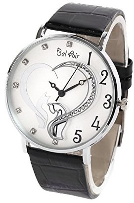 Bel Air [ベルエア 腕時計 OSD40 (ピンク) 猫とハートモチーフのレディース腕時計/ラインストーン付
