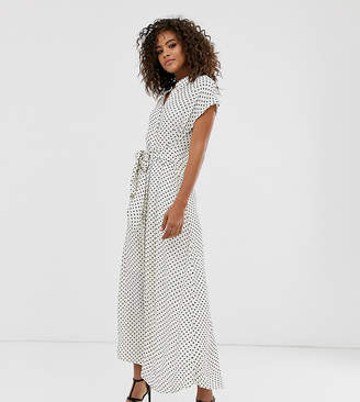 Vero Moda Tall spot maxi dress with tie front