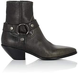Saint Laurent Women's Leather Harness Ankle Boots - Dk. brown