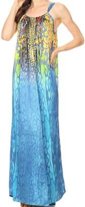 Calypso Sakkas 17808 Long Adjustable Column Dress with Animal Print and Rhinestones - OS