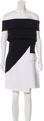 Thierry Mugler Off-The-Shoulder Colorblock Dress