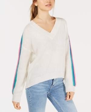 Ultra Flirt Juniors' Varsity-Stripe V-Neck Sweater