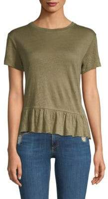 Generation Love Women's Athena Linen Ruffle Top - Army Green - Size Large