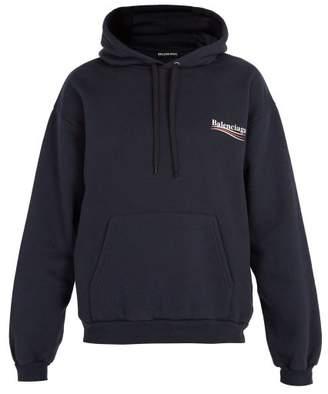 Balenciaga Logo Print Hooded Sweatshirt - Mens - Navy