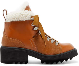 Chloé Bella Shearling-lined Lizard-effect Leather Ankle Boots - Tan