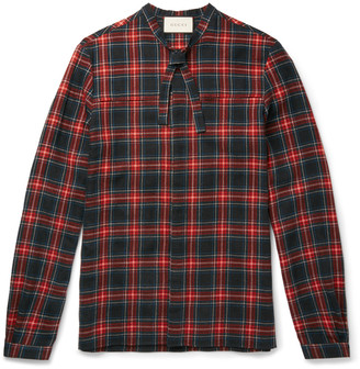 Gucci Slim-Fit Neck-Tie Checked Wool and Cotton-Blend Flannel Shirt $620 thestylecure.com
