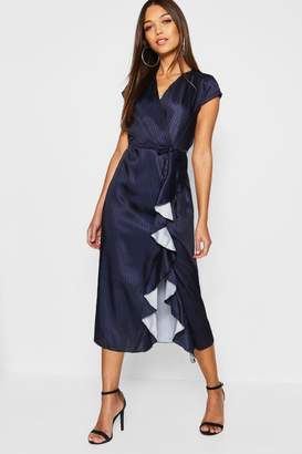 boohoo Satin Stripe Ruffle Detail Dress