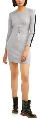 Derek Heart Juniors' Long Sleeve Scoop Neck Bodycon Dress with Twist Front