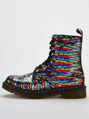 Dr. Martens 1460 Pascal Sequin 8 Eye Ankle Boots - Black/Silver